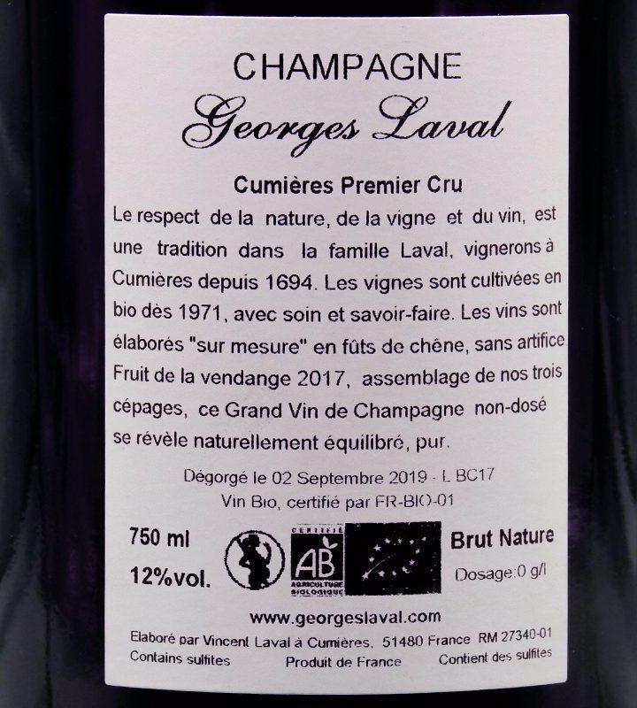 "Champagne Georges Laval ""Cumières"" Premier Cru Brut Nature"