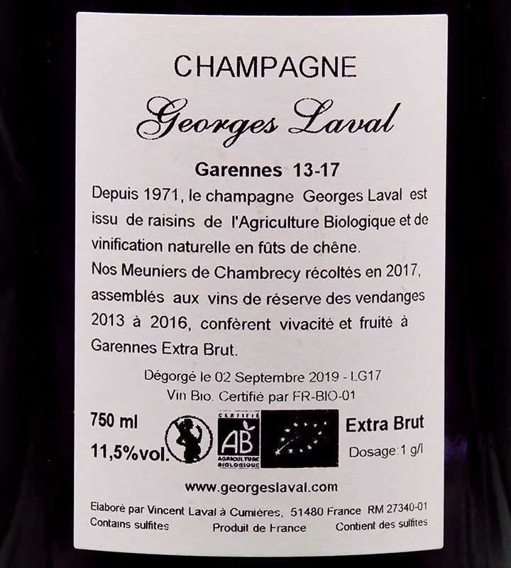 """Champagne Georges Laval """"Garennes"""" Extra Brut"""